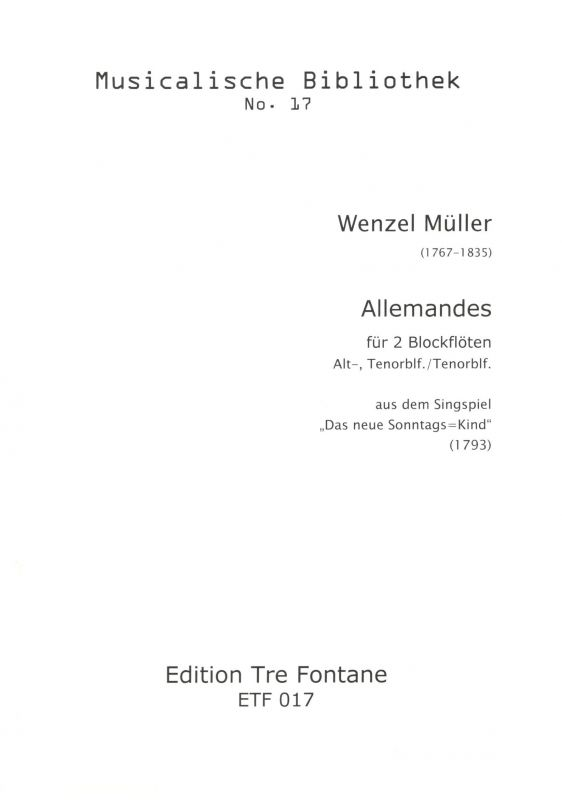 Allemandes für 2 Blockflöten - W. Müller Edition Tre Fontane