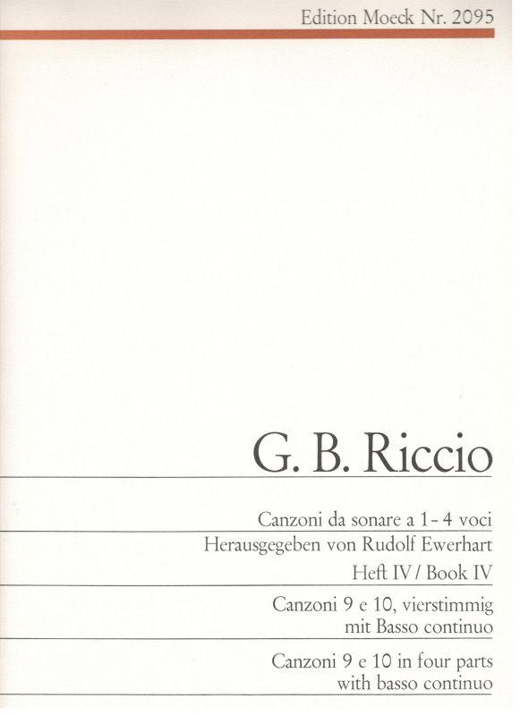 Canzoni da sonare a 1-4 voci - G. B. Riccio - Heft IV Moeck