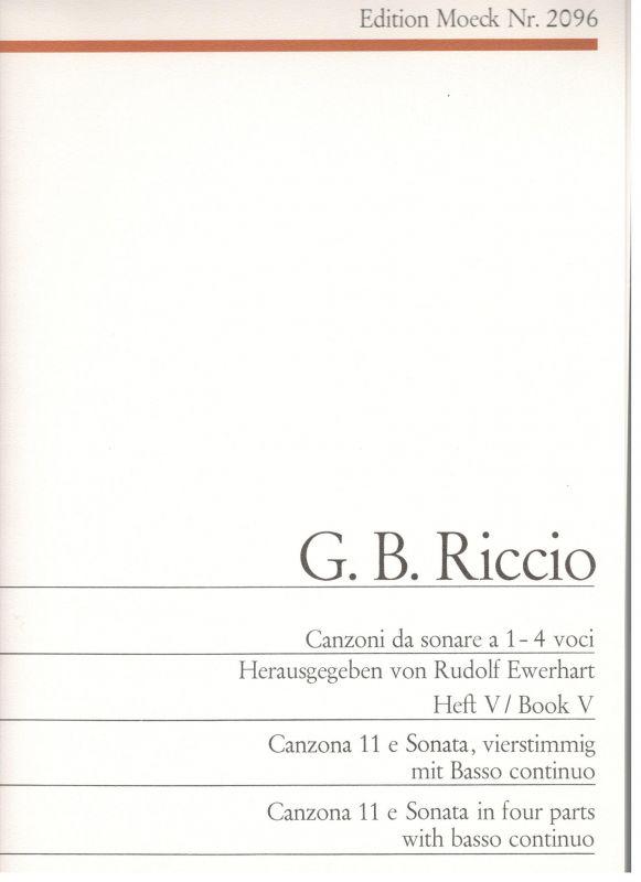 Canzoni da sonare a 1-4 voci - G. B. Riccio - Heft V Moeck