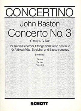 Concerto No. 3 G Major - J, Baston -partitura SCHOTT