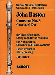 Concerto No. 3 in G major - J. Baston- part-+klavír SCHOTT