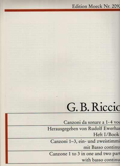 G. B. Riccio - Canzoni da sonare - 1. díl Moeck